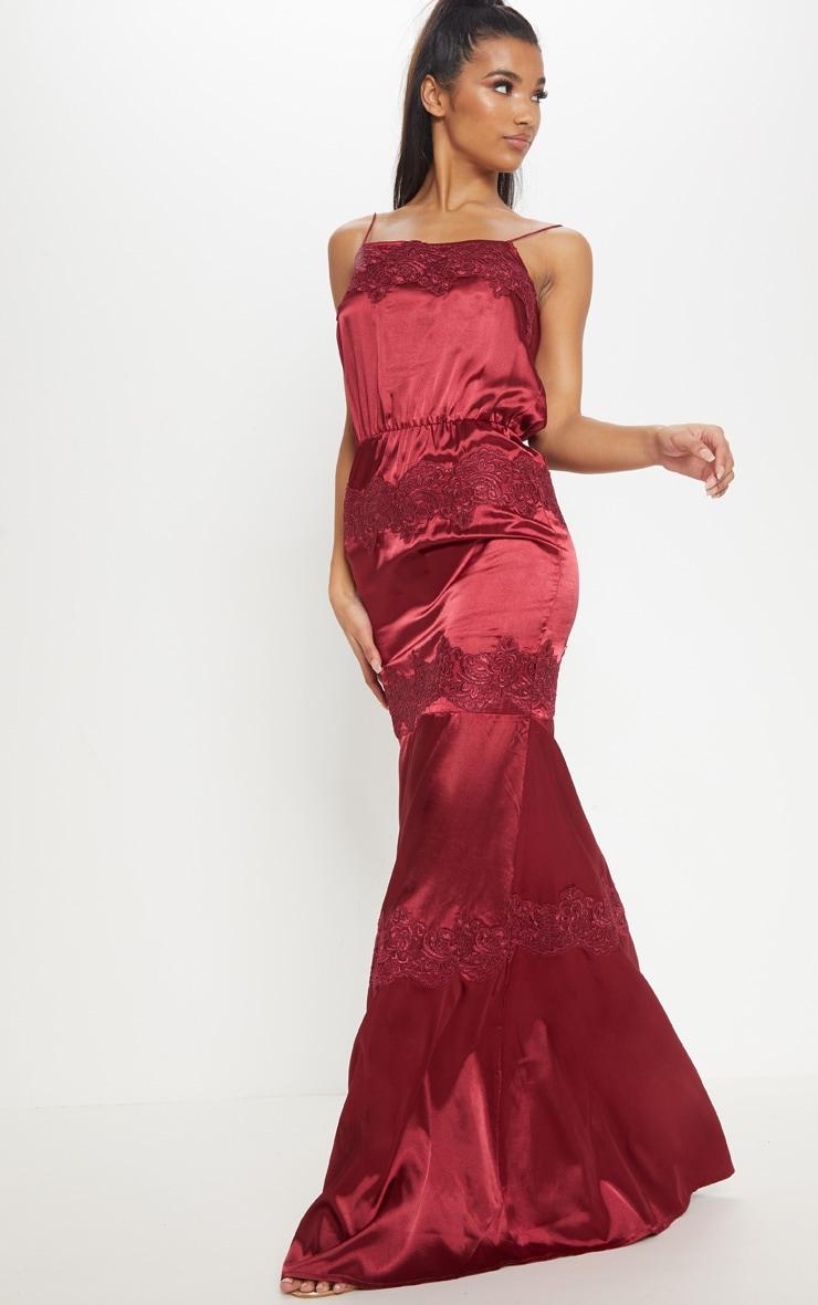 Burgundy Lace Trim Satin Tiered Maxi Dress 4