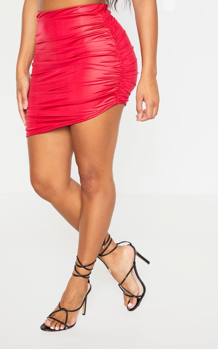 Shape Burgundy Coated Slinky Ruched Side Bodycon Skirt 2