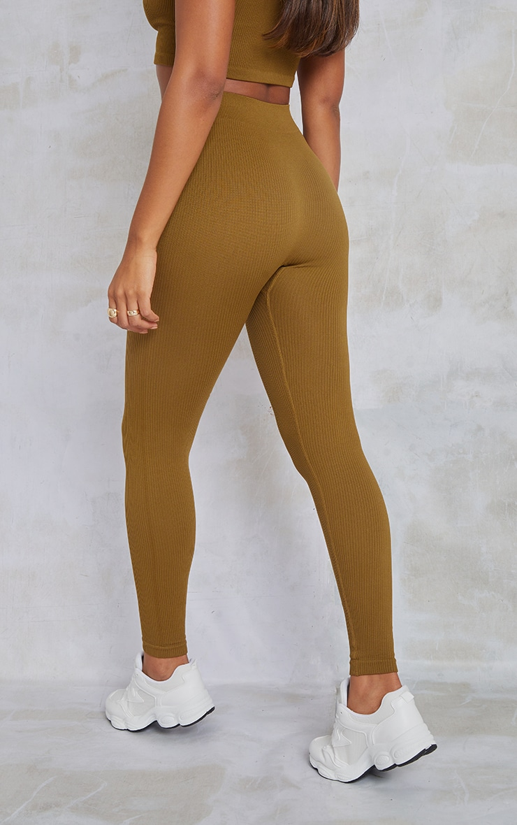 PRETTYLITTLETHING Olive Contour Ribbed Leggings 3