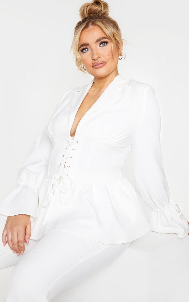 Plus White Corset Waist Blazer 1