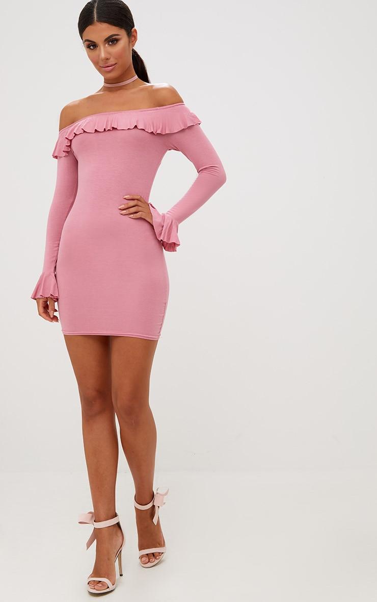 Rose Frill Detail Bardot Bodycon Dress 3