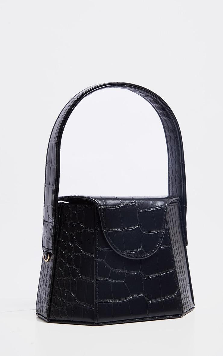 Black Croc Angular Structure Cross Body Bag 2