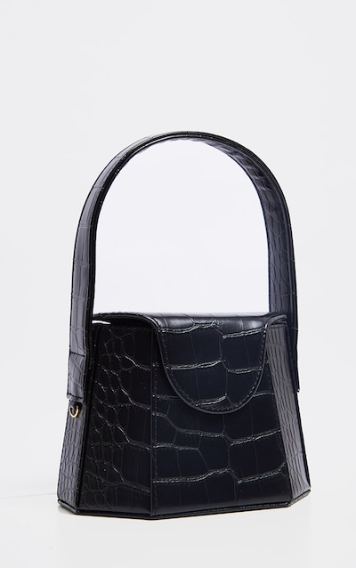 Black Croc Angular Structure Mini Bag