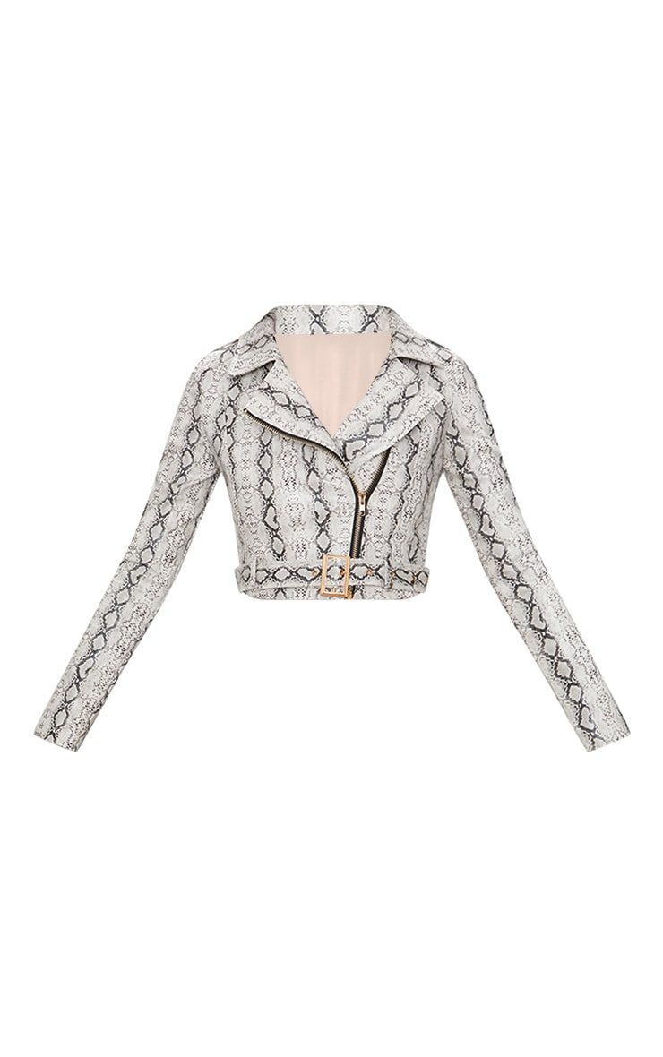 Grey Cropped Snake Print Biker Jacket  3
