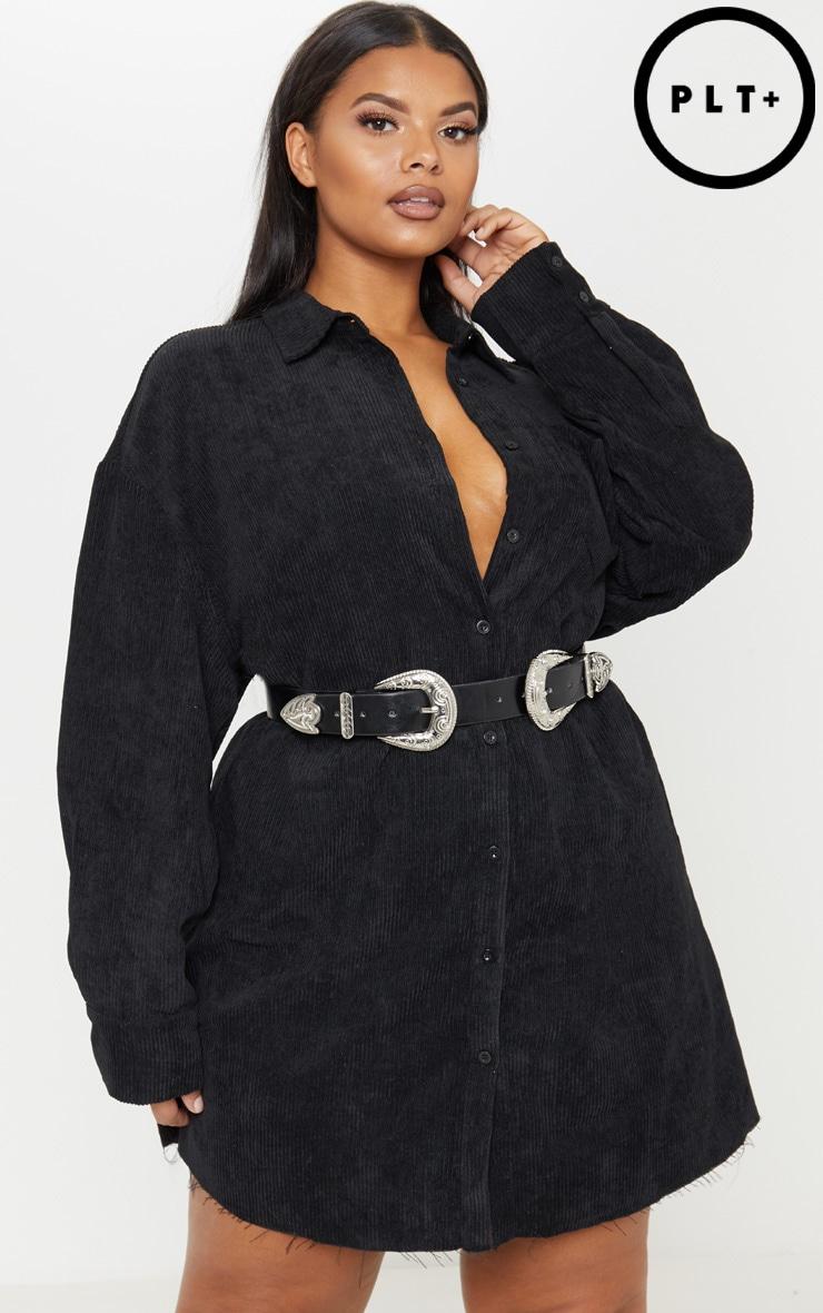 Plus Black Corduroy Oversized Shirt Dress