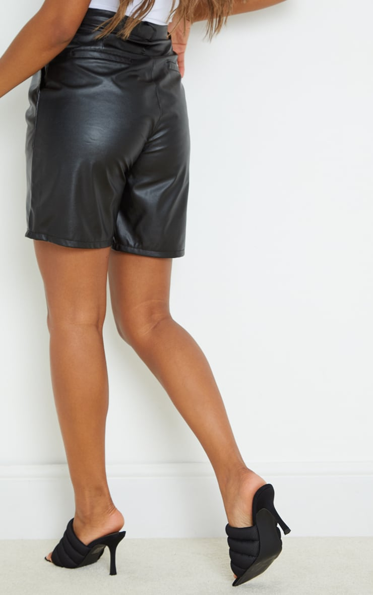 Black Faux Leather Longline Pleat Detail Shorts 3