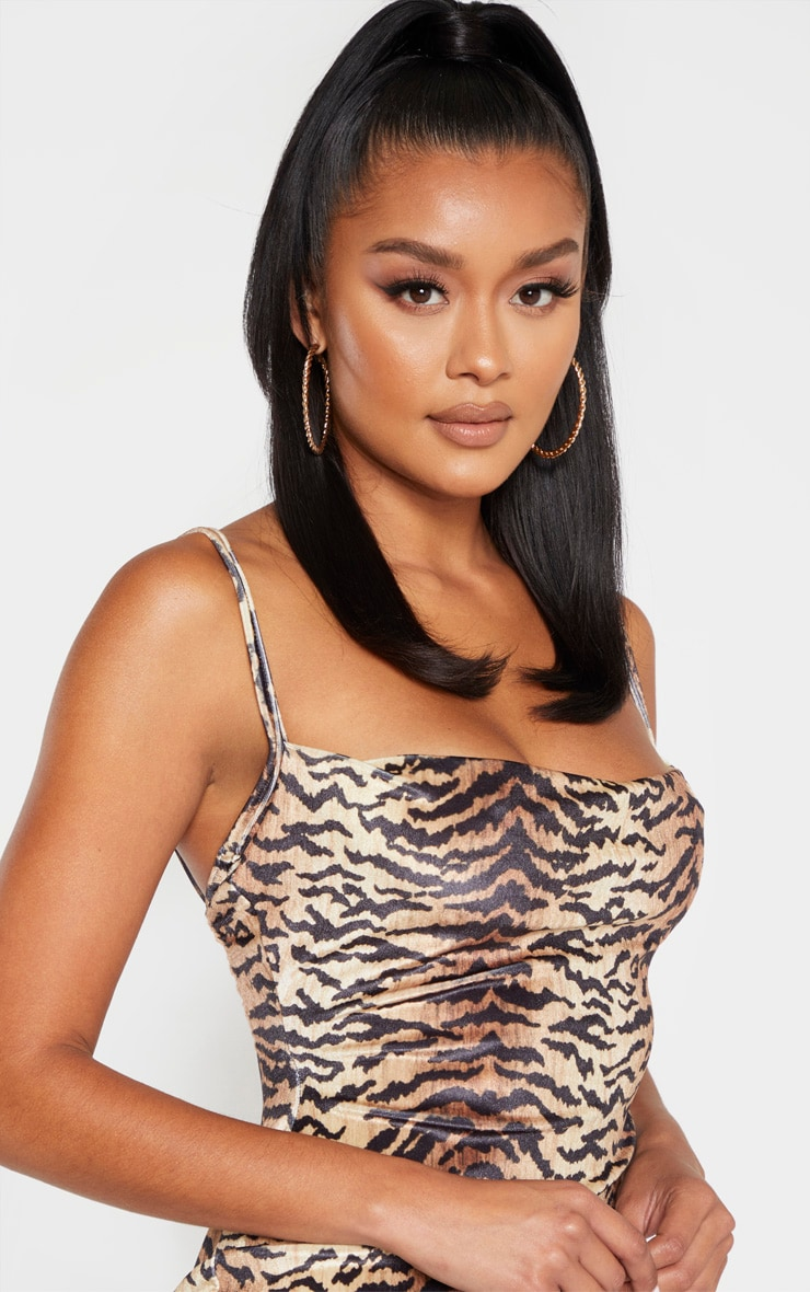Brown Velvet Strappy Tiger Print Midi Dress 4