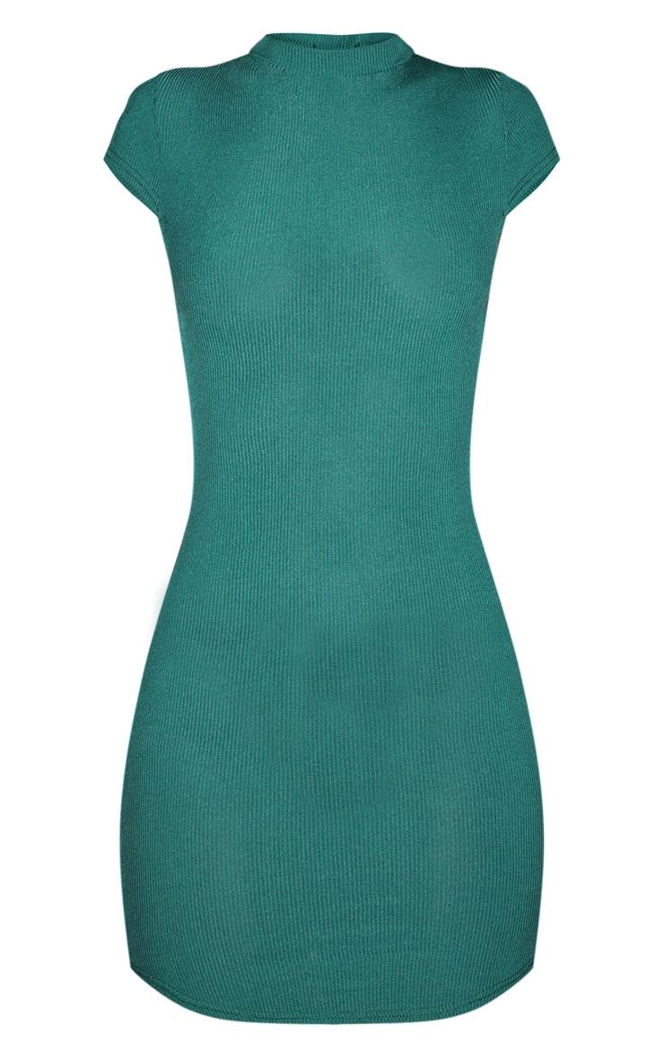 Emerald Green High Neck Ribbed Bodycon Dress 3