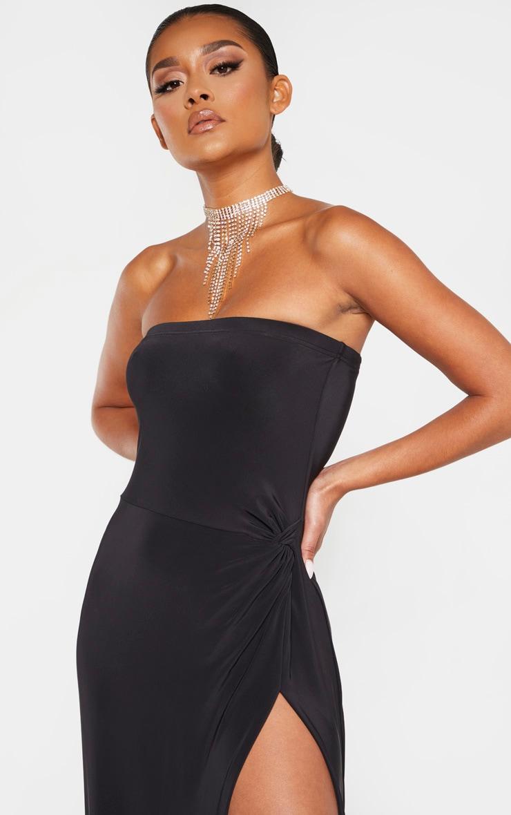 Black Bandeau High Slit Maxi Dress  5