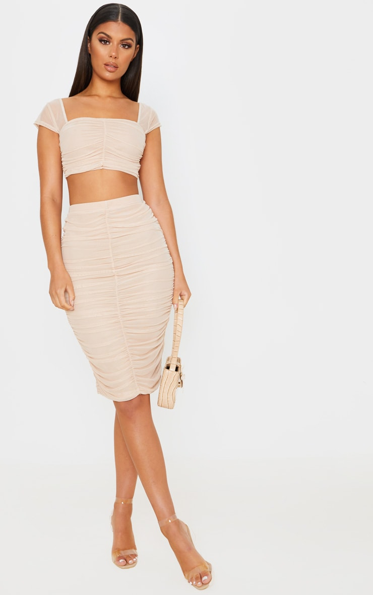 Nude Mesh Ruched Midi Skirt 1