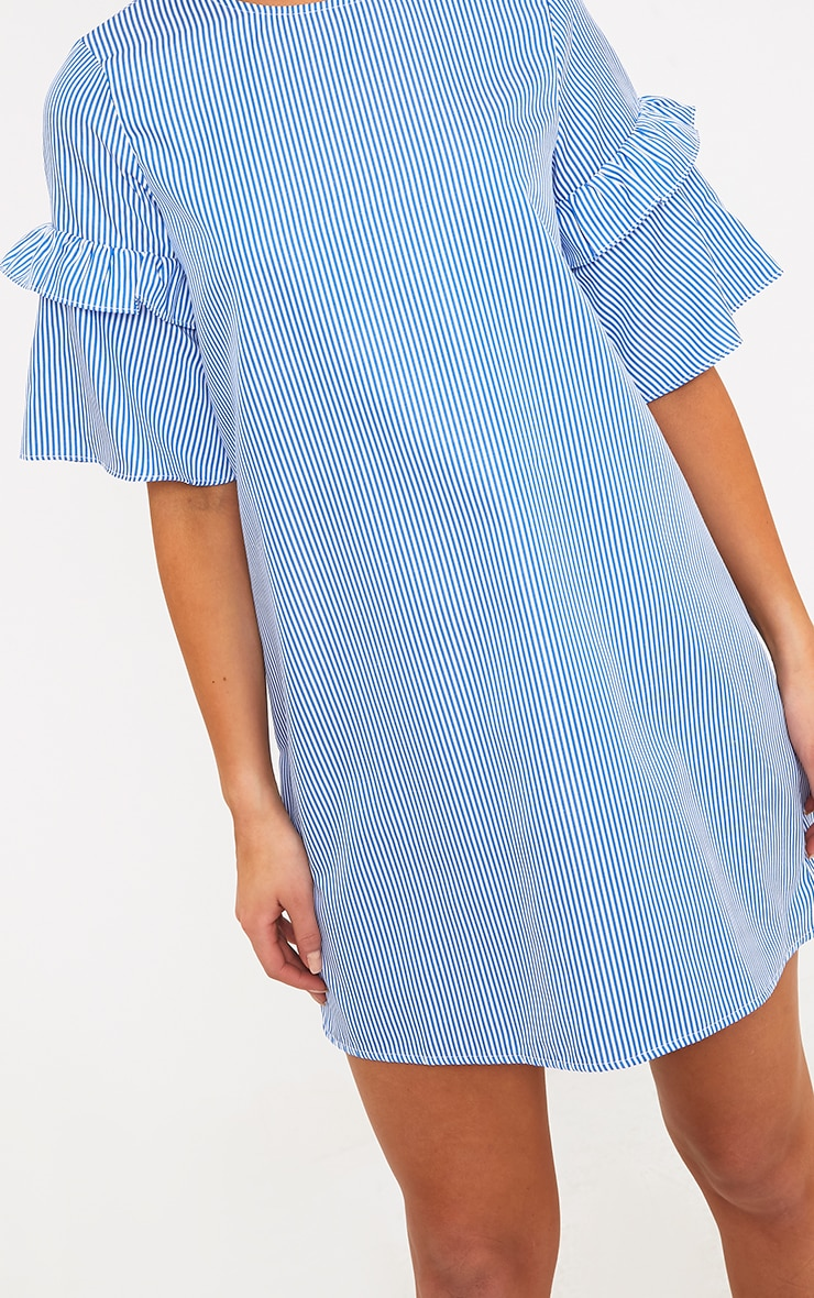 Gracey Striped Short Sleeve Frill Detail Shift Dress Blue 5