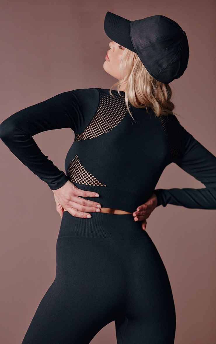 Black Cut Out Seamless Long Sleeve Top 2