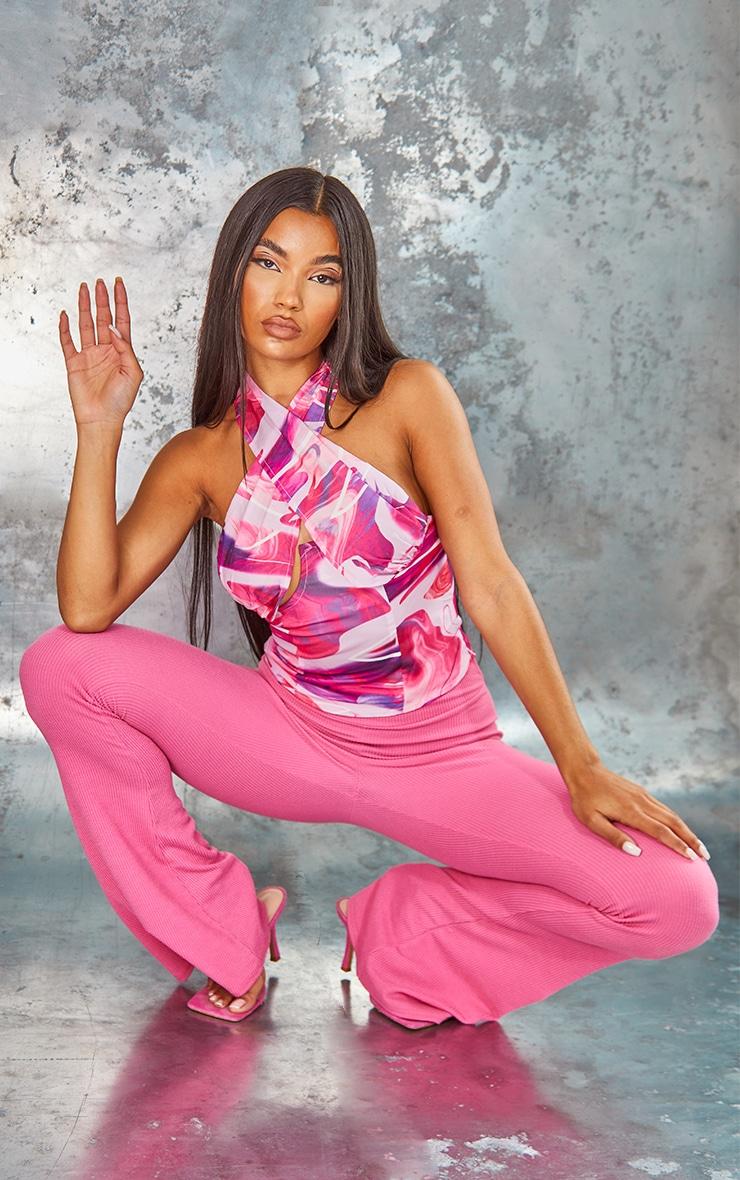 Pink Swirl Print Underbust Cross Over Zip Crop Top 3