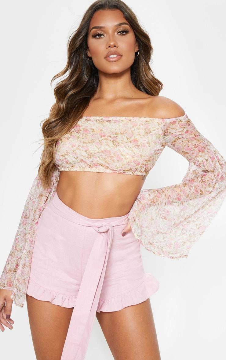 Pink Ditsy Floral Printed Chiffon Bardot Long Sleeve Crop Top 4