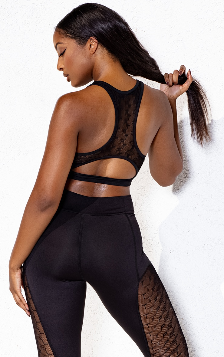 Black Mesh Insert Racer Back Sports Bra 2