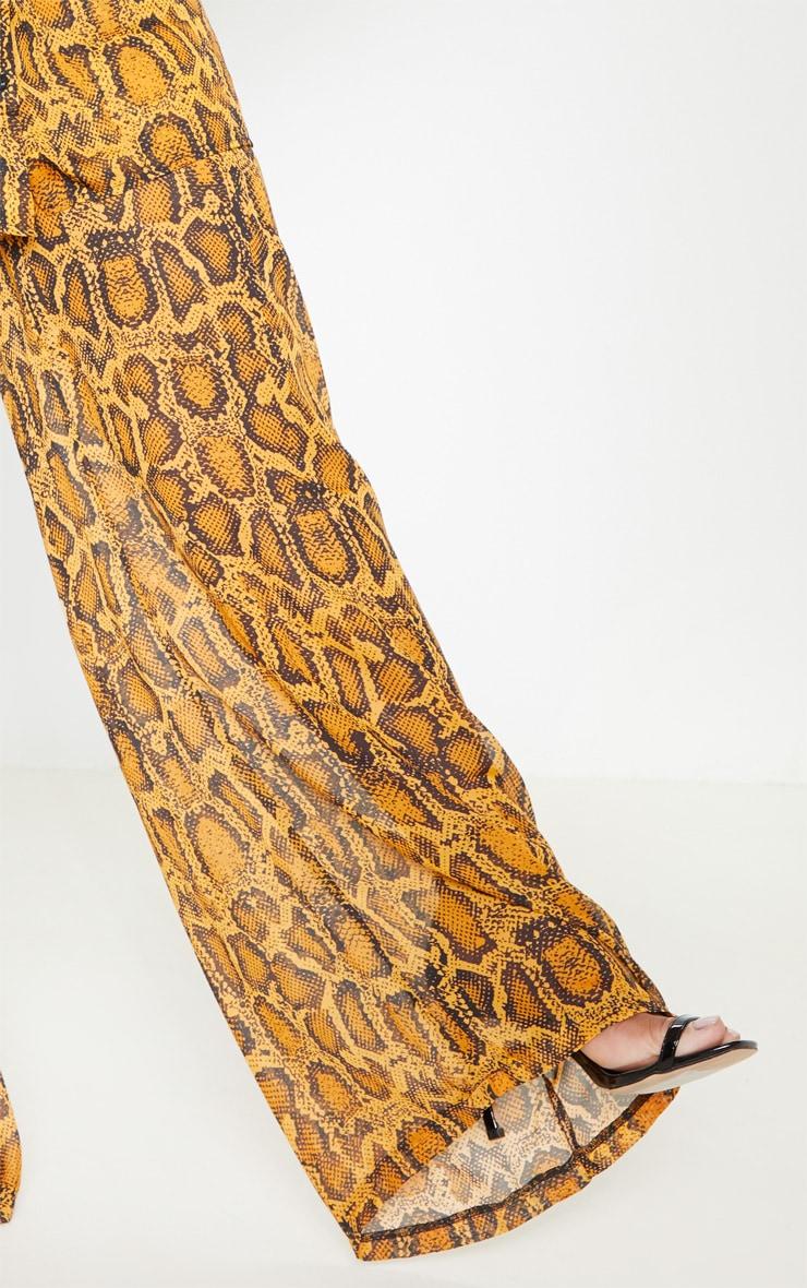 Plus Orange Sheer Snake Print High Waisted Wide Leg Trouser  5