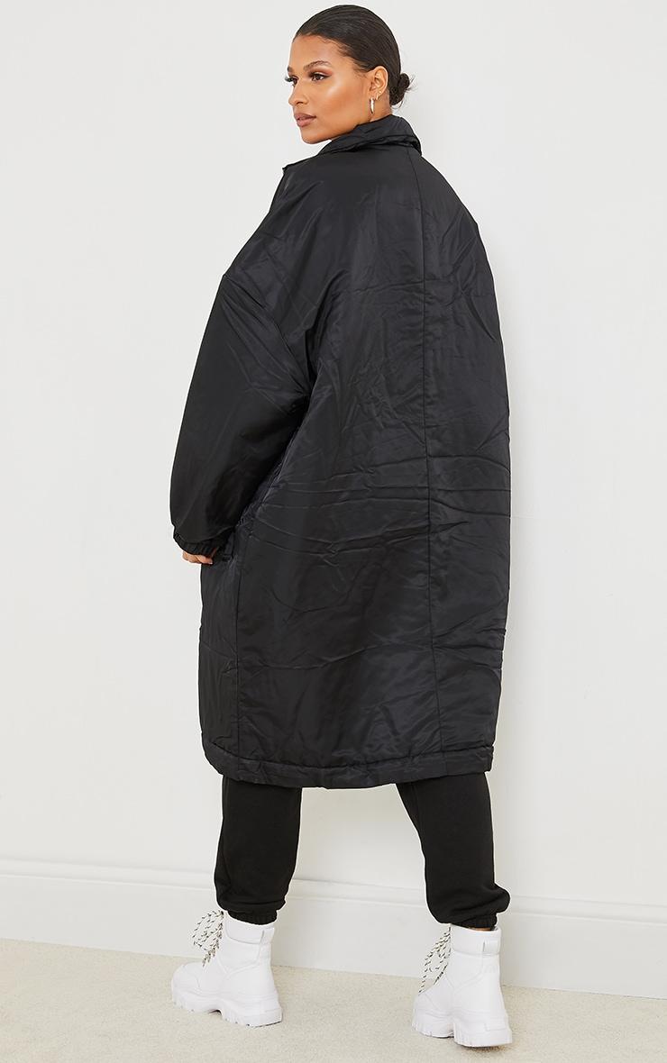 Black Nylon Drop Arm Maxi Puffer Jacket 2