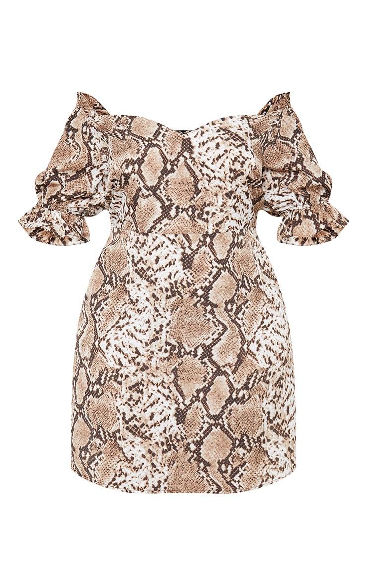 Plus Taupe Snake Print Puff Sleeve Shift Dress 3