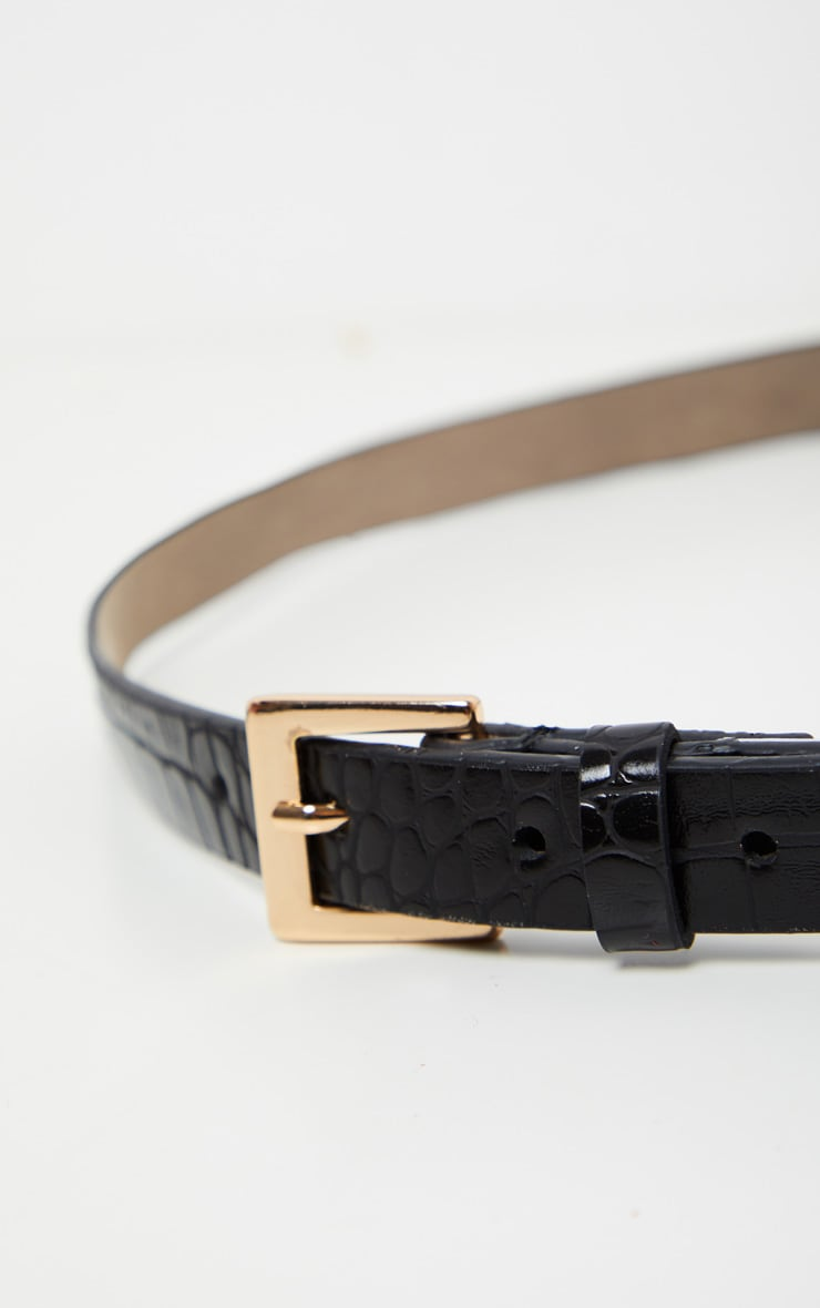 Black Croc Skinny Basic Belt 3