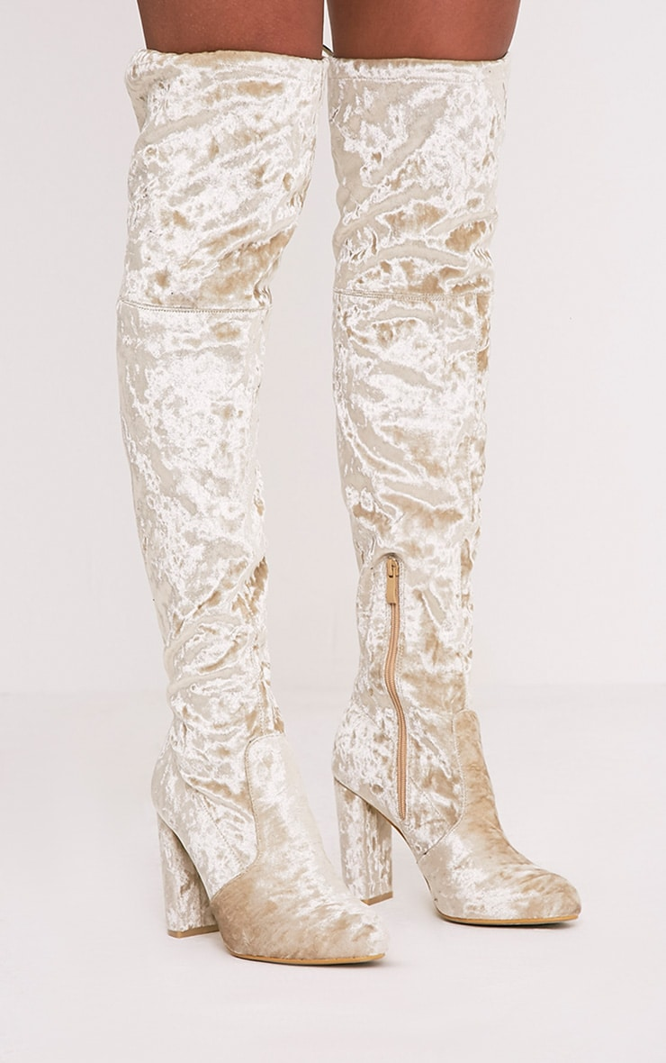 Bess Champagne Crushed Velvet Heeled Thigh Boots 3