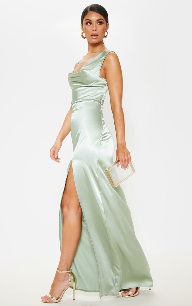 Sage Green Satin Cowl Neck Maxi Dress 4