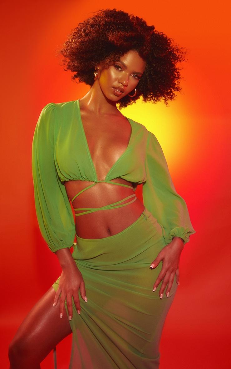 Apple Green Tie Front Long Sleeve Beach Top 1