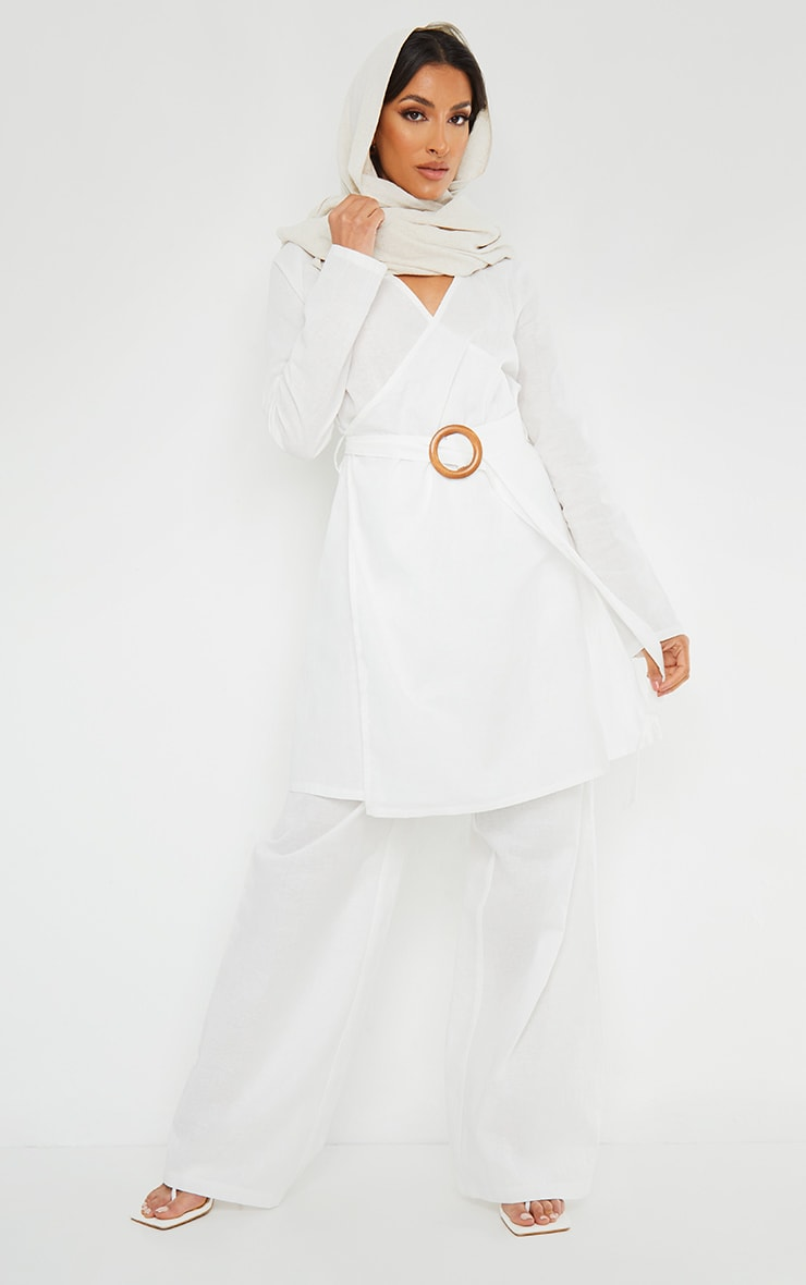 White Wooden Belted Long Sleeve Jacket 3