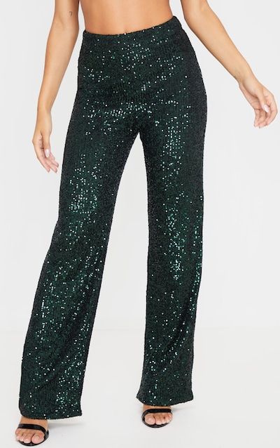Emerald Green Sequin Wide Leg Trousers