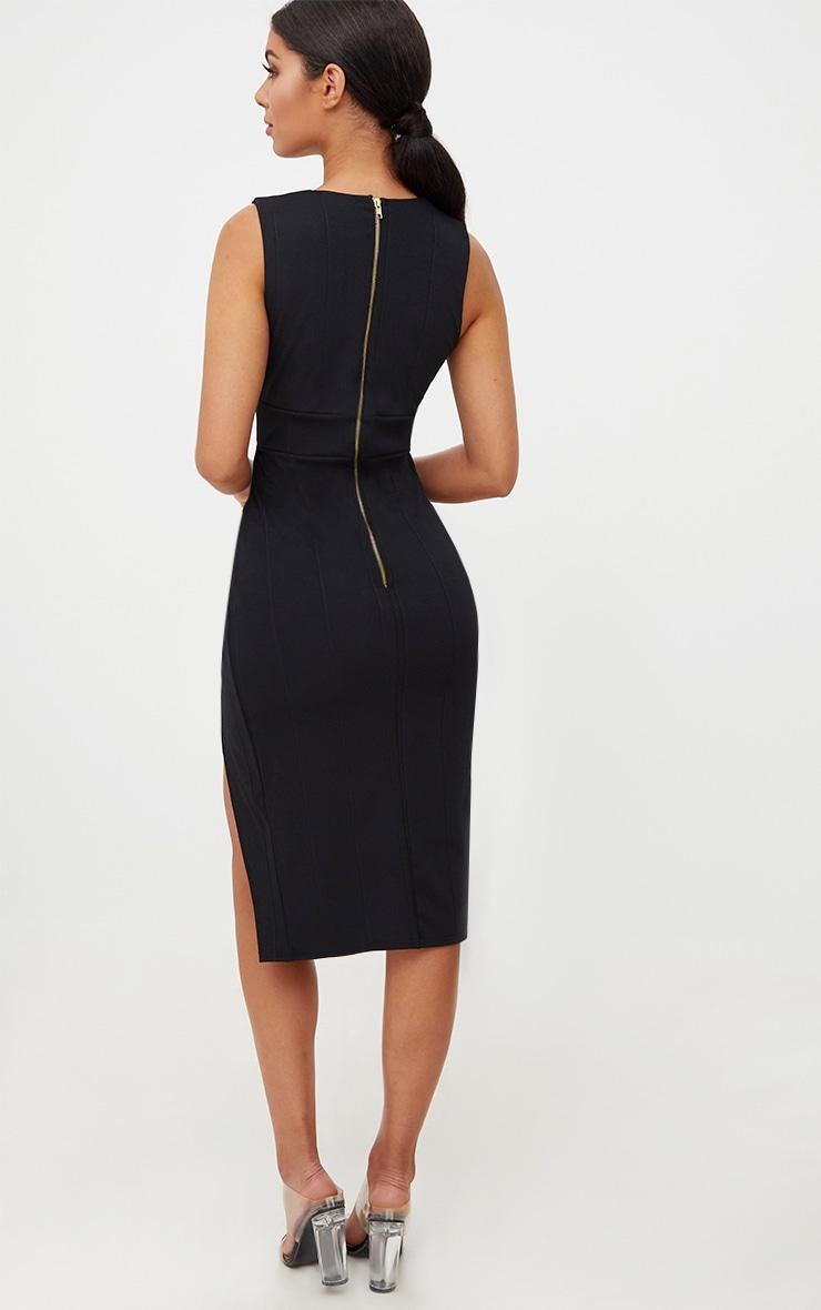 Black Ribbed Bandage Plunge Extreme Split Midi Dress 3