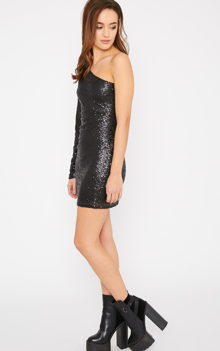 Kisha Black One Shoulder Sequin Mini Dress 4