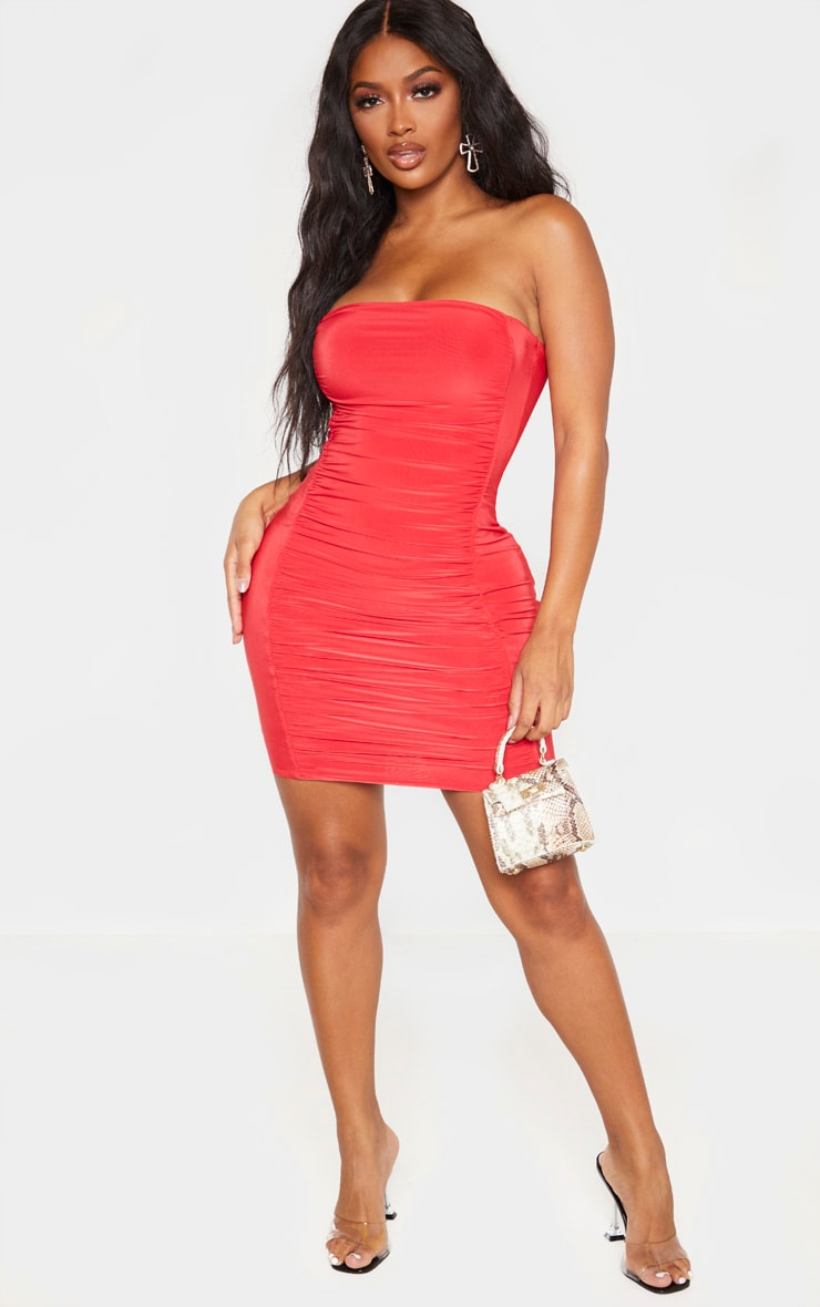 Shape Red Slinky Ruched Bandeau Bodycon Dress 4