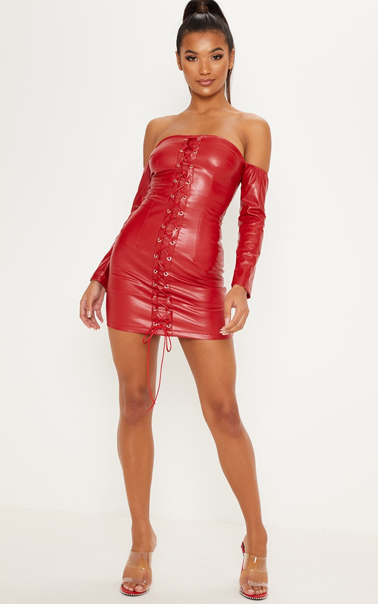 Red Faux Leather Bardot Lace Up Bodycon Dress 4