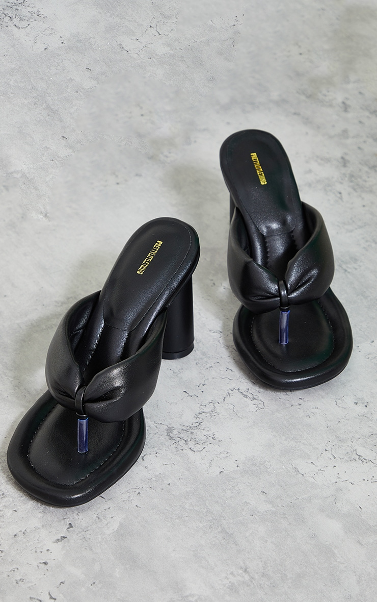 Black PU Round Toe Quilted Toe Thong Cylinder Heeled Mules 3