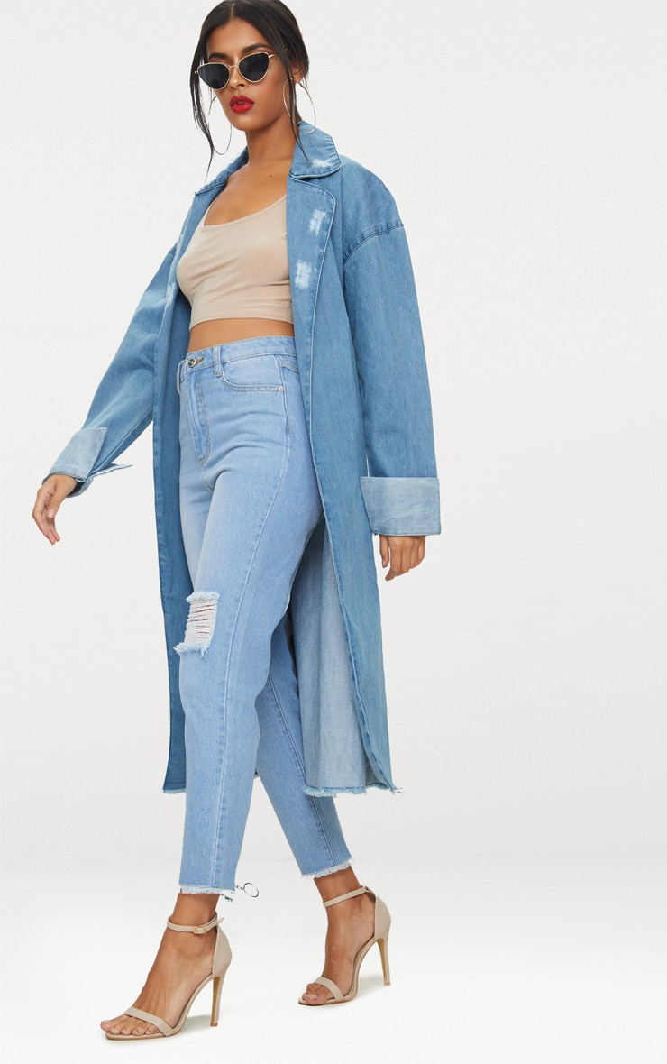 Light Wash Longline Denim Trench Coat 4