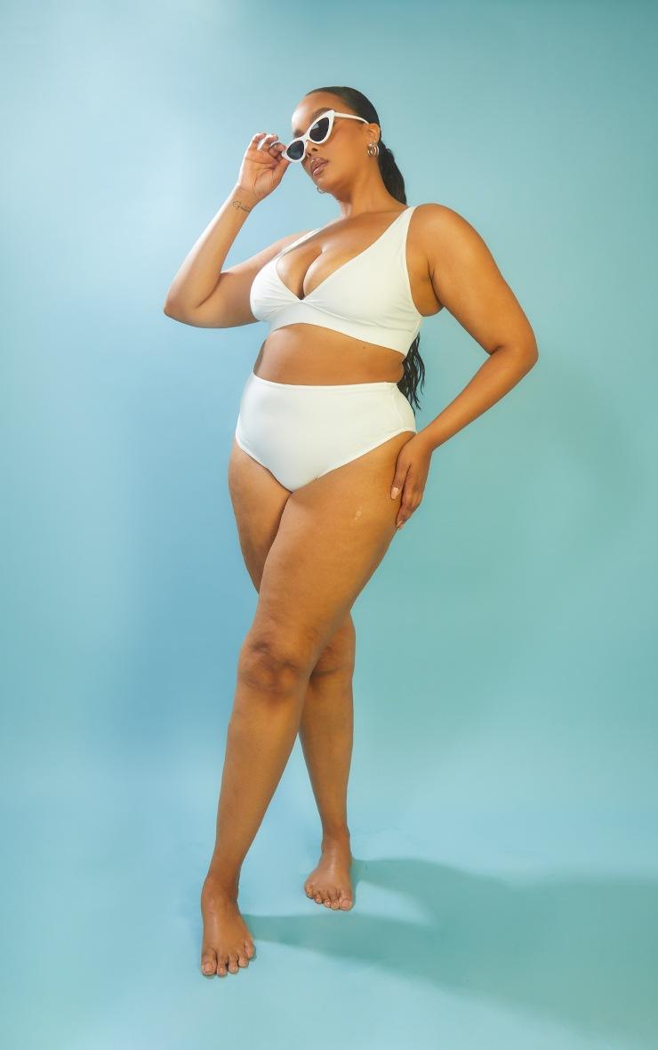 Plus White High Waist High Leg Bikini Bottom 3
