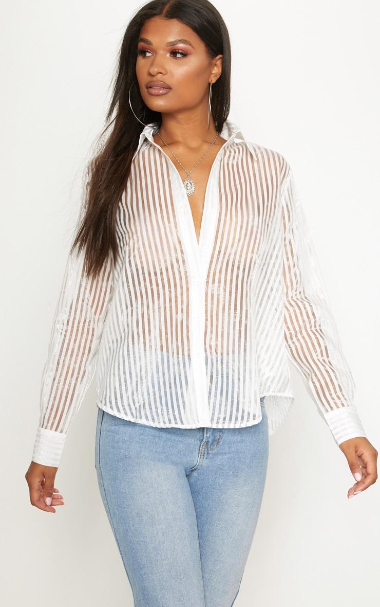 White Stripe Sheer Oversized Shirt 1