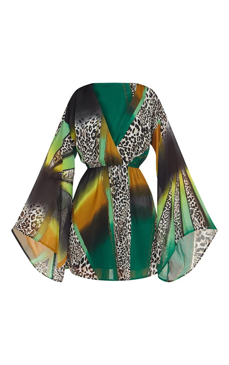 Green Mixed Animal Print Chiffon Flared Sleeve Swing Dress 3