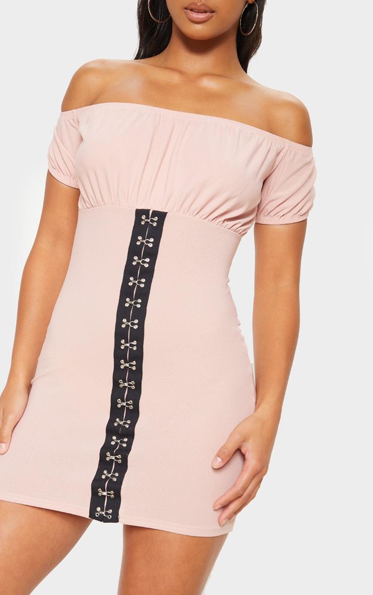 Petite Blush Ruched Bust Hook And Eye Mini Dress  5