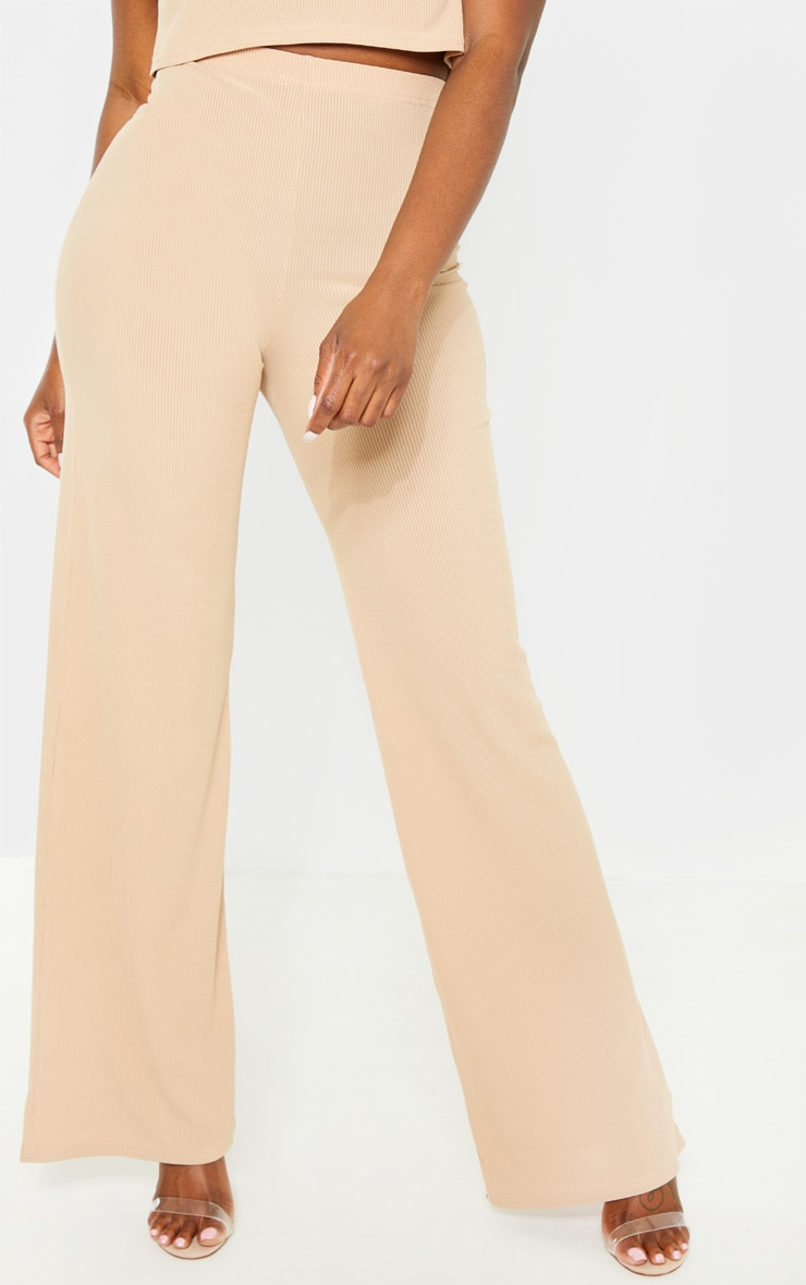 Petite Nude Ribbed Wide Leg Trousers 2