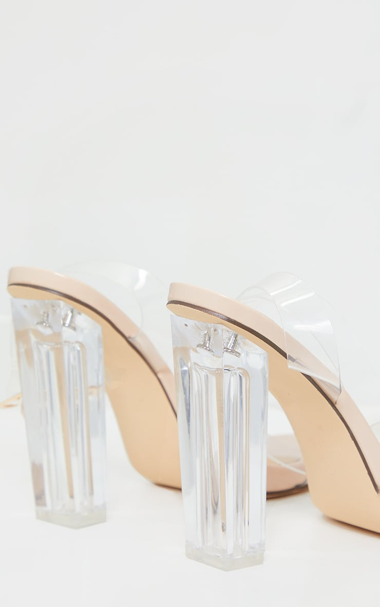 Nude Wide Fit Clear High Block Heel Strappy Heel Sandals 4