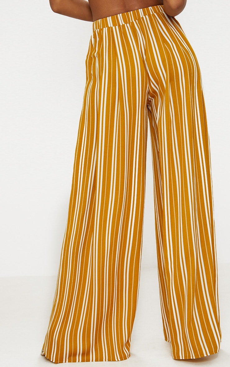 Mustard Formal Stripe Wide Leg Trouser  4