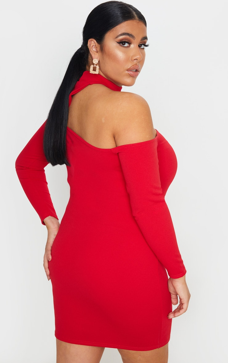 Plus Red Crepe One Shoulder Choker Bodycon Dress 2