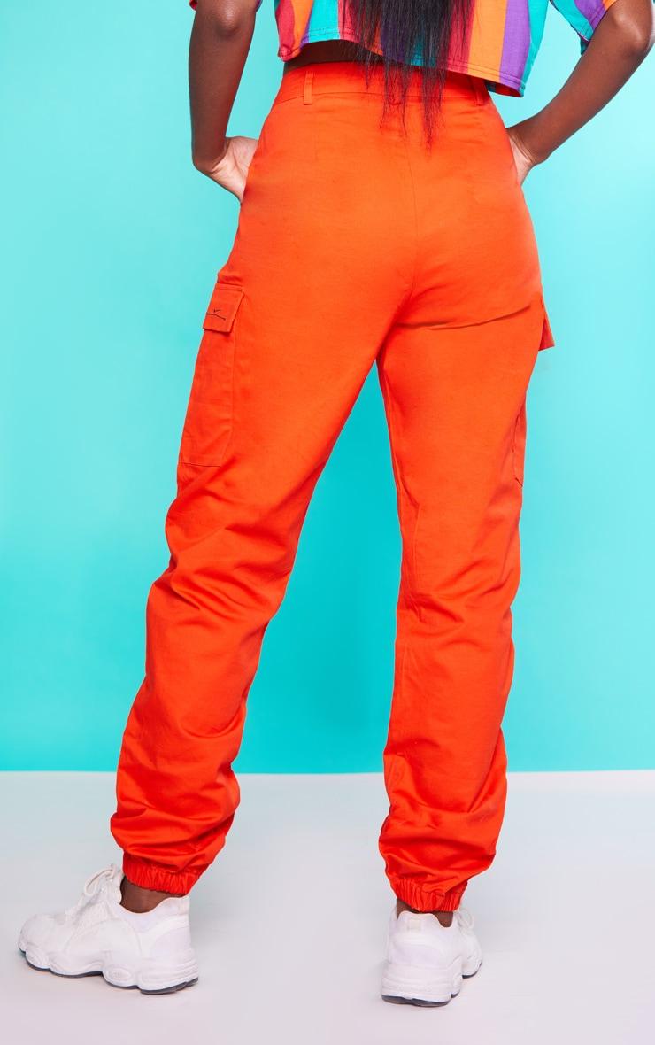 KARL KANI Orange Cargo Trousers 5