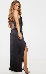 Petite Black Satin Wrap Detail Maxi Dress 2