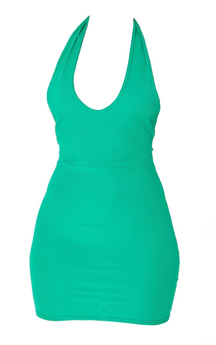 Green  Ribbed Halterneck Tie Back Bodycon Dress 5