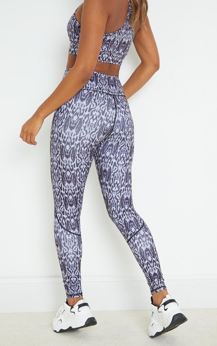 Grey Leopard Print High Waist Gym Leggings 3