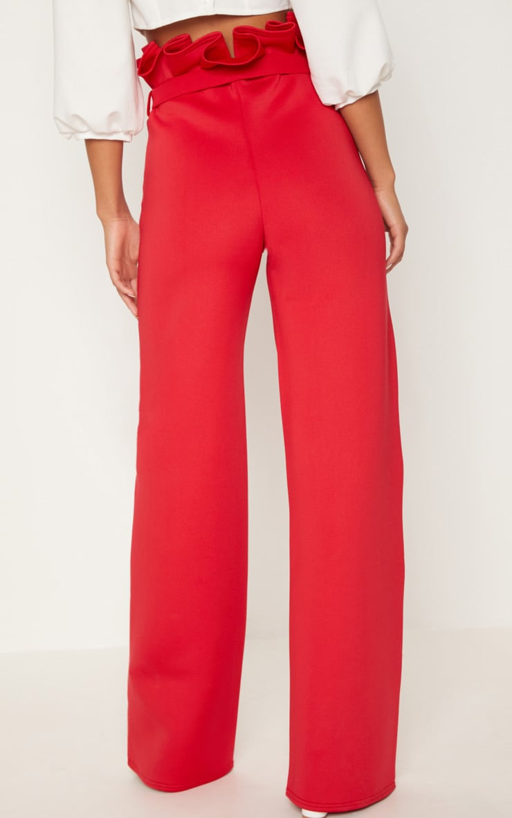 Red Scuba Extreme Paperbag Wide Leg Trouser 4