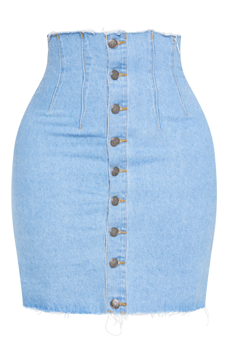 Shape Light Wash Button Front Seam Detail Denim Skirt 3