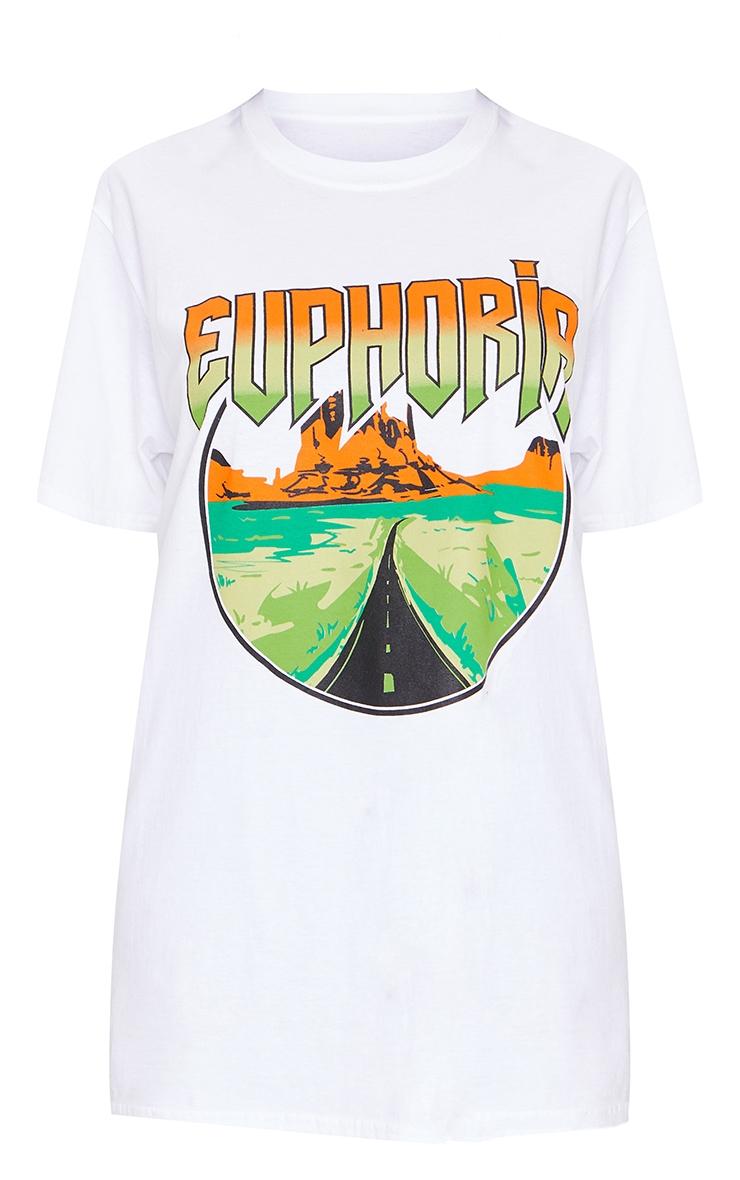 White Euphoria Printed T Shirt 5