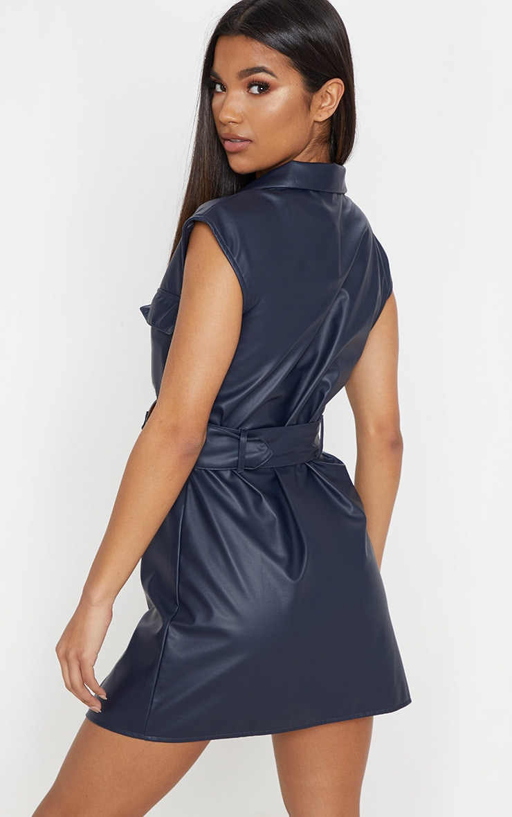 Navy Faux Leather Utility Blazer Dress 2